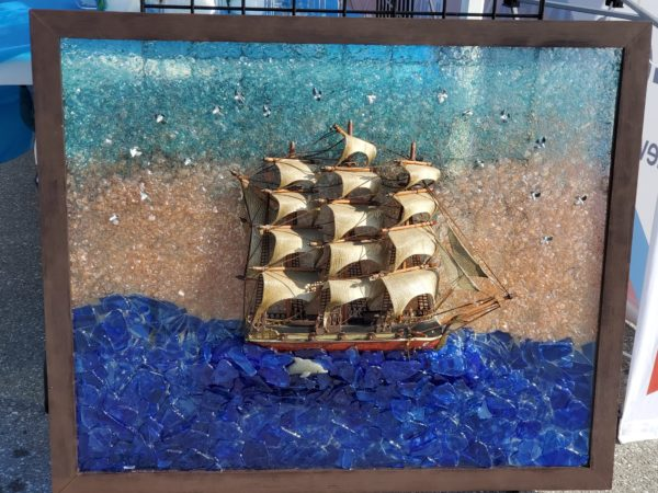 Hand painted ship & dolphin